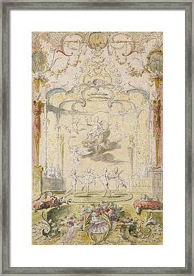 The Triumph Of Love Ink & Wc On Paper Framed Print by Claude Gillot