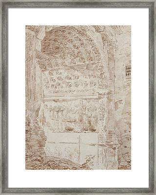 The Triumph Of Rome, Arc Of Titus Red Chalk On Paper Framed Print by Hubert Robert