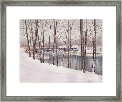 The Tulip Tree Bridge In Winter Framed Print by Elizabeth Dobbs