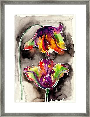 The Tulips Kiss - Watercolor Framed Print by Tiberiu Soos