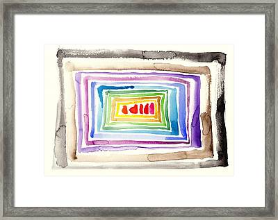 The Tunnel - Abstract Slash Watercolor Framed Print by Tiberiu Soos