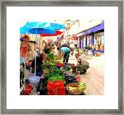 The Turkish Woman's Street-side Vegetable Market Framed Print by Lanjee Chee