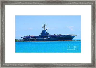 The U S S Lexington The Blue Ghost Framed Print by Tina M Wenger