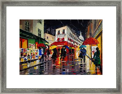 The Umbrellas Of Montmartre Framed Print by Mona Edulesco