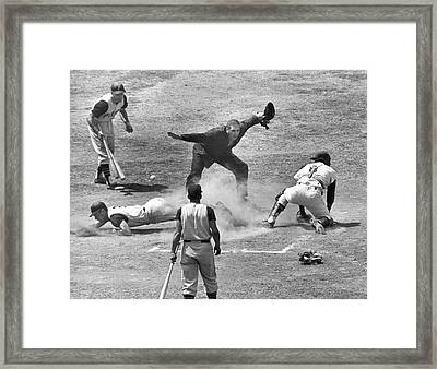 The Umpire Calls It Safe Framed Print by Underwood Archives