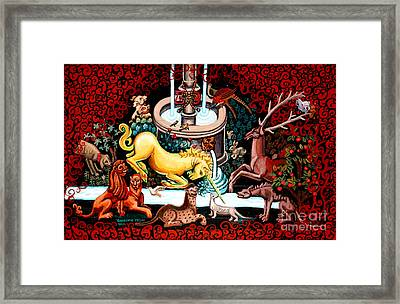 The Unicorn Purifies The Water Framed Print by Genevieve Esson