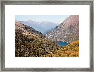 The Valley Martelltal With Lake Framed Print by Martin Zwick