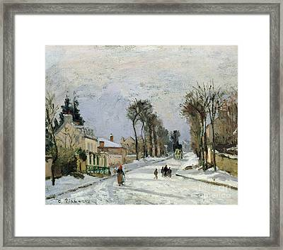 The Versailles Road At Louveciennes Framed Print by Camille Pissarro