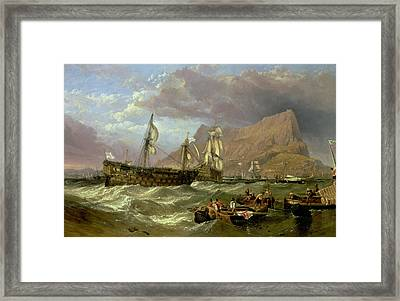 The Victory Towed Into Gibraltar Framed Print by Clarkson R A Stanfield