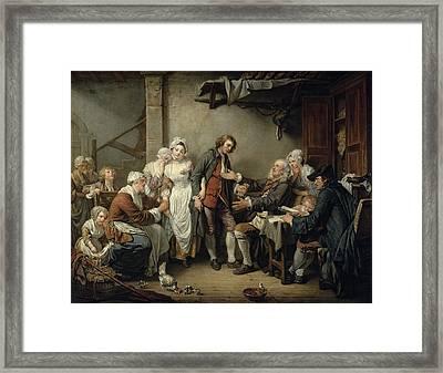 The Village Agreement, 1761 Oil On Canvas Framed Print by Jean Baptiste Greuze