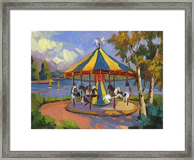 The Village Carousel At Lake Arrowhead Framed Print by Diane McClary