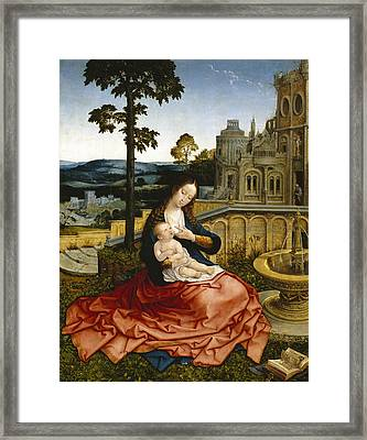 The Virgin And Child By A Fountain Framed Print by Bernard van Orley