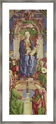 The Virgin And Child Enthroned Framed Print by Cosimo Tura