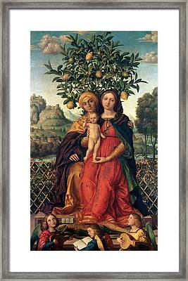 The Virgin And Child With Saint Anne Framed Print by Gerolamo dai Libri