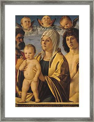 The Virgin And Child With St Peter And St Sebastian Framed Print by Giovanni Bellini