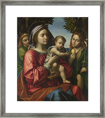 The Virgin And Child With The Baptist And An Angel Framed Print by Paolo Morando