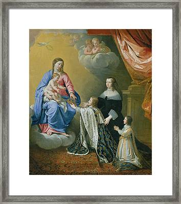 The Virgin Mary Gives The Crown And Sceptre To Louis Xiv, 1643  Framed Print by Philippe de Champaigne