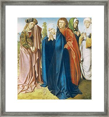 The Virgin Mary With St John The Evangelist And The Holy Women Framed Print by Gerard David