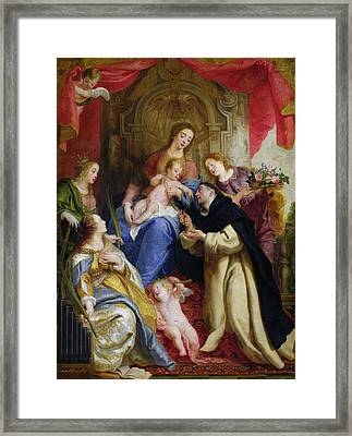 The Virgin Offering The Rosary To St. Dominic Framed Print by Gaspar de Crayer