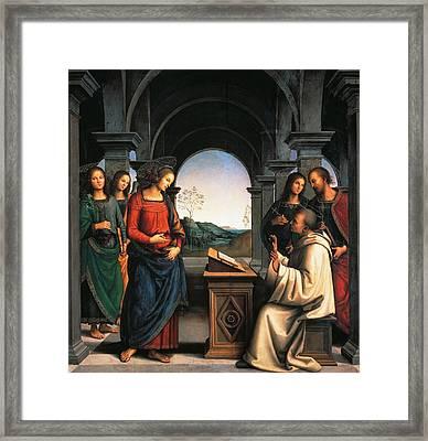 The Vision Of St Bernard Framed Print by Pietro Perugino
