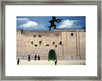 The  Western Wall And Fiddler On The Roof Framed Print by Nora Shepley