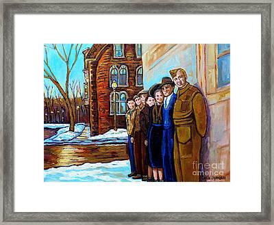 The War Years 1942 Montreal St Mathieu And De Maisonneuve Street Scene Canadian Art Carole Spandau Framed Print by Carole Spandau