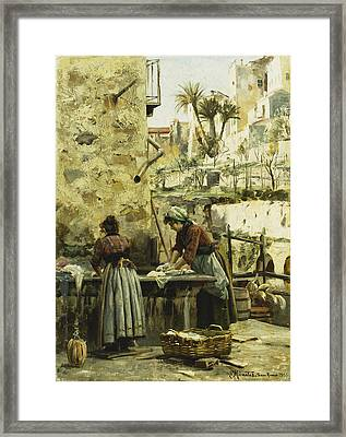 The Washerwomen Framed Print by Peder Monsted