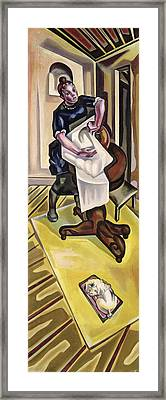The Washing, Before 1921 Oil On Canvas Framed Print by Maria Blanchard