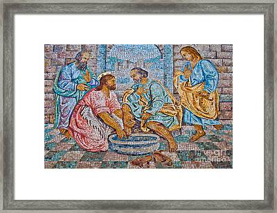 The Washing Of The Feet Framed Print by Luis Alvarenga