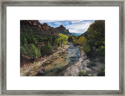 The Watchman In Zion National Park Framed Print by Larry Marshall