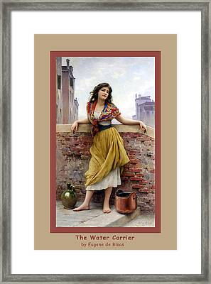 The Water Carrier Poster Framed Print by Eugene de Blaas