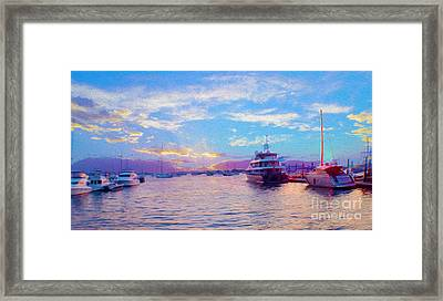 The Waters Are Calm Painting  Framed Print by Jon Neidert