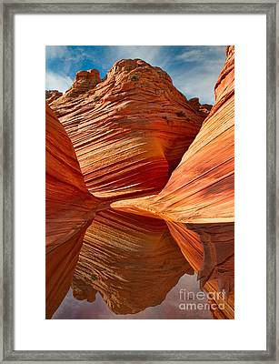 The Wave With Reflection Framed Print by Jerry Fornarotto