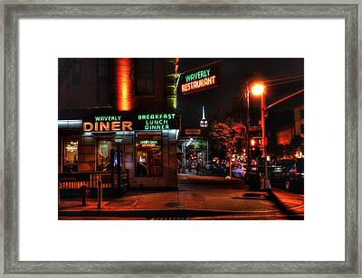 The Waverly Diner And Empire State Building Framed Print by Randy Aveille