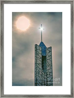 The Wayfarers Chapel Steeple Framed Print by Donna Greene
