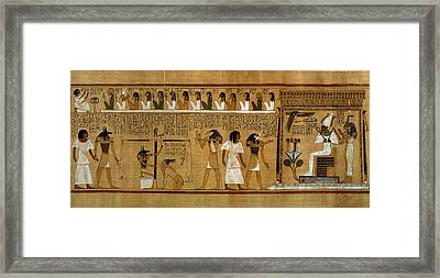 The Weighing Of The Heart Against Maats Feather Of Truth, From The Book Of The Dead Of The Royal Framed Print by Egyptian 19th Dynasty