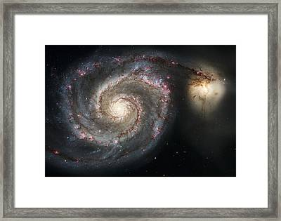The Whirlpool Galaxy M51 And Companion Framed Print by Adam Romanowicz