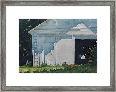 the White Boat Framed Print by Len Stomski