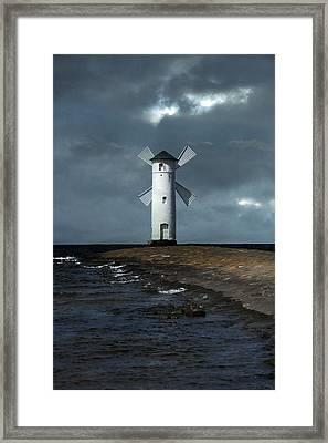 The White Windmill Framed Print by Jaroslaw Blaminsky