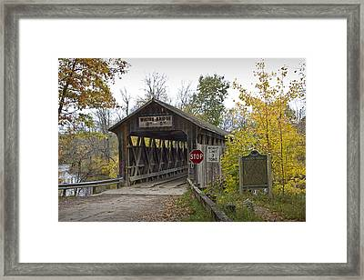 The Whites Covered Bridge Was One Of The Last Of Its Kind In Michigan Framed Print by Randall Nyhof