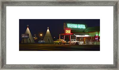 The Wigwam Motel On Route 66 Panoramic Framed Print by Mike McGlothlen