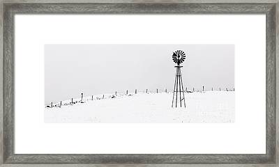The Windmill -  A Minimalist Winter Scenic  Framed Print by Thomas Schoeller