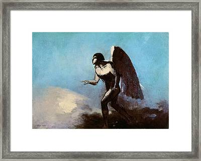 The Winged Man Or Fallen Angel Framed Print by Odilon Redon