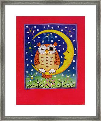 Man In The Moon Framed Print featuring the painting The Winking Owl by Cathy Baxter