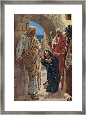 The Woman Of Canaan Framed Print by Harold Copping
