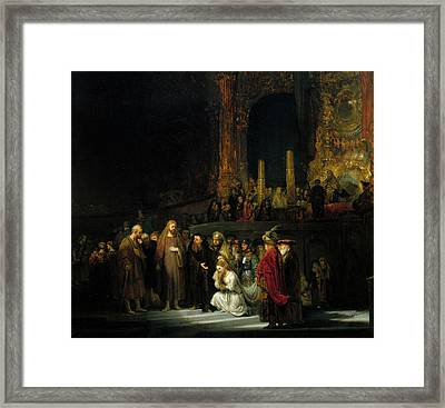 The Woman Taken In Adultery Framed Print by Rembrandt