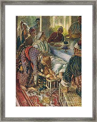 The Woman With The Box Of Ointment Framed Print by Harold Copping