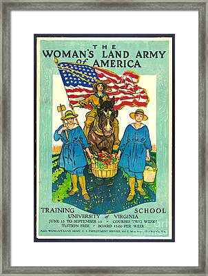 The Woman's Land Army Of America 1918 Framed Print by Padre Art
