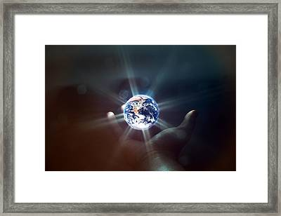 The World In The Palm Of Your Hand Framed Print by EXparte SE