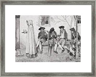The Wounded Soldiers Sat Along The Wall, Illustration From Harpers Magazine, October 1889 Litho Framed Print by Howard Pyle
